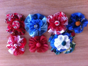 Covered buttons and vintage flowers from unwanted clothes